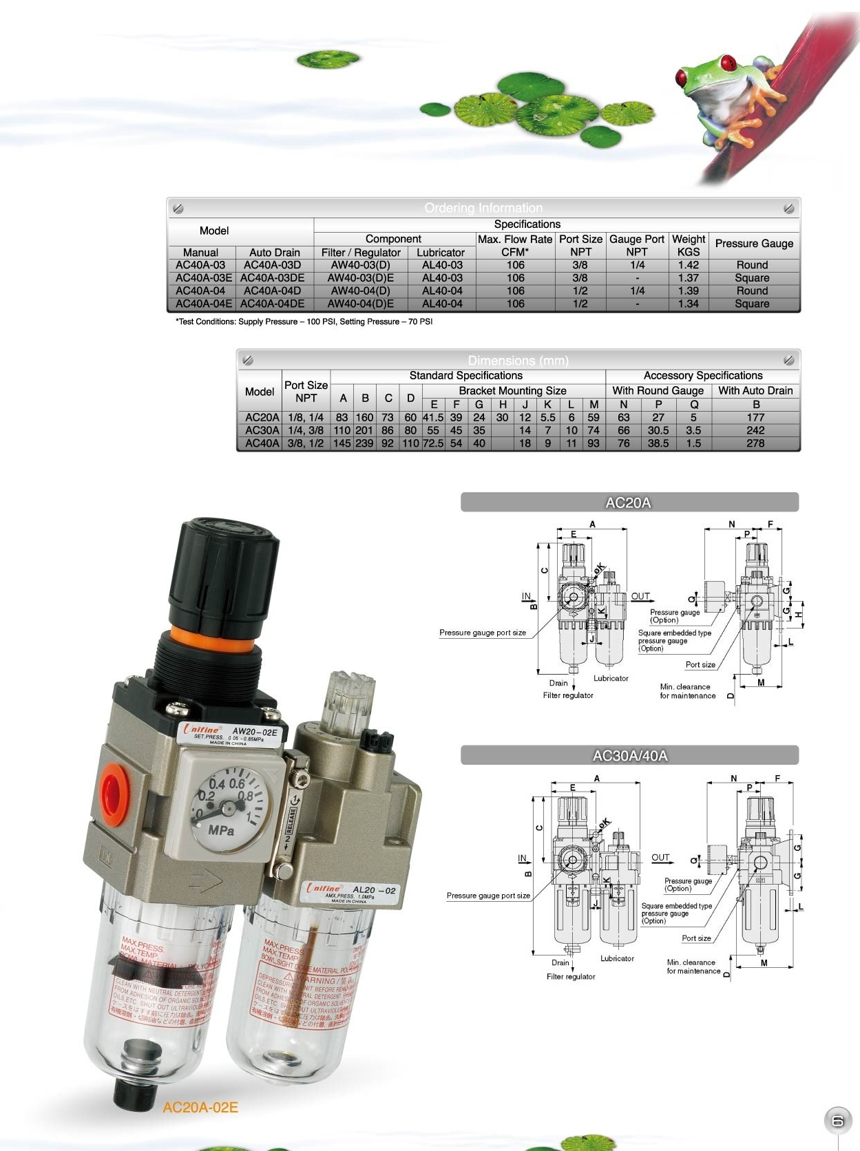 Operating Pressure: 145 psi Two-Piece 1//2 NPT Filter Regulator Lubricator